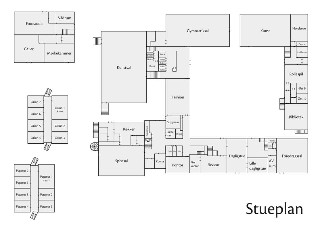 Vrå Højskole - stueplans kort